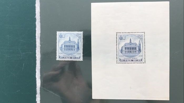 Belgium 1936 - City hall Charleroi - OBP BL6A and 437