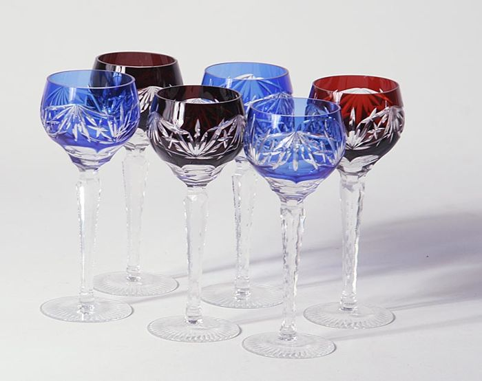 Set of six crystal cut wine glasses, 20th century