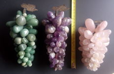 Mineral bunches of grapes three different stones