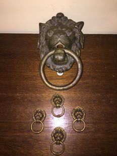Bronze lion door knockers and handles - early 20th century - Italy