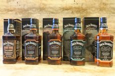 5 bottles - Jack Daniel's Red Dog Saloon 125th anniversary - Limited Edition, Master distiller edition no. 2, 3 4 & 5  in original boxes