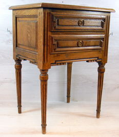 Oak side table with two drawers, Belgium, 2nd half of 20th century