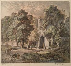 Kobell Ferdinand (1740-1799) - ruin of Abbey - engraving Original 1780
