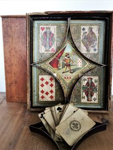 complete card game with card box for 'khedive' bridge - France - circa 1890