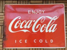 Large Enjoy Coca-Cola Ice Cold Tin Advertising XXL 70 x 50 cm - from Bar's Oklahoma State- 1960 s - 1970 s