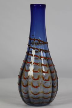 Mouth-blown glass vase with threads of orange glass