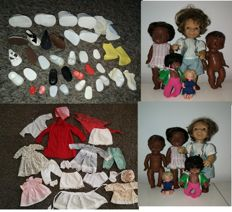 Collection of dolls + 16 Pairs vintage doll shoes 1950s - 70s + vintage clothes for dolls