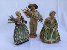 Three beautiful large authentic Provencal Santons figurines _ Nativity scene figurines