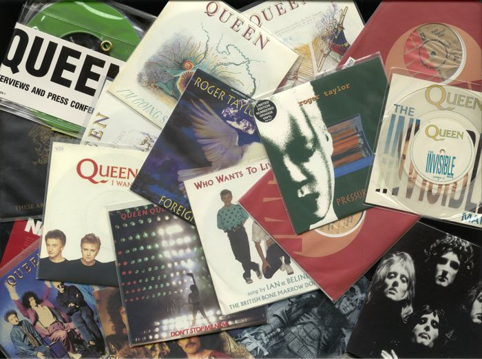 "Roger Taylor and Queen lot of 30 singles - Includes 22 hitsingles and 8 colored interview 45's  - Also includes the original singles ""Keep yourself alive"" and ""I wanna testify"""