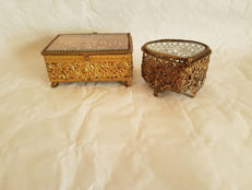 Filigree jewellery boxes - two pieces - France - circa 1900