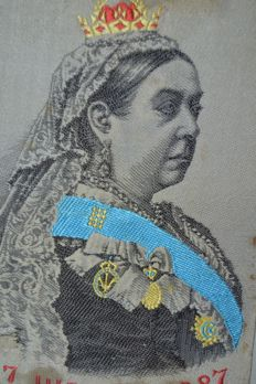 Silk woven picture : HM Queen Victoria, Jubilee 1837 to 1887