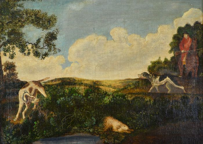 North european school. (18th/19th century) A man with dogs hunting a rabbit.