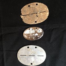 Three German identity plates from WW2