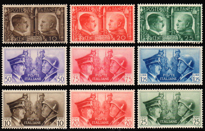 Italy, Kingdom 1941 - Brothers in Arms, Italo-German Axis, complete series of 9 stamps, not issued - Sass.  No.  S96 and S97