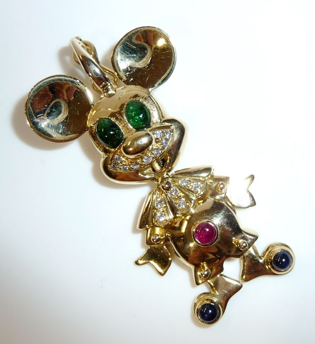 Large Mickey Mouse Clip pendant in 18 kt / 750 gold with diamond, emerald, sapphire, ruby ITALY - length 50 mm, width 25 mm