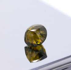 Natural Fancy Deep Yellowish Greenish Brown 3.52 ct. Double Rose cut Diamond, AIG Certified