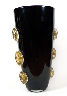Alberto Donà (Murano) - black vase with gold buttons (41 cm)
