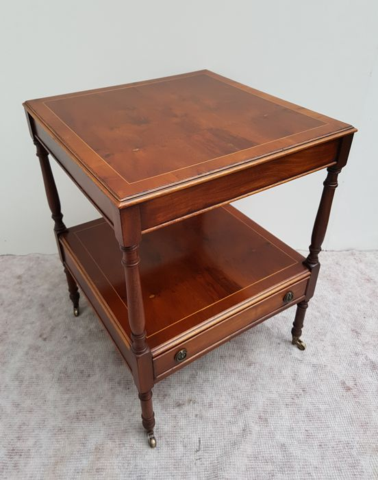 Mahogany Wood Side Table With Inlaid Table Top, Second Half Of 20th Century