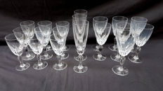 Lot of french crystal glasses