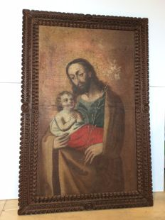Antique oil on canvas painting, Joseph with Jesus