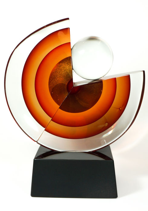 Alberto Dona (Murano) - large Sommerso Disk sculpture