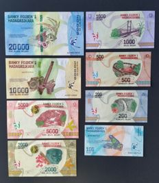 Madagascar - 100, 200, 500, 1,000, 2,000, 5,000, 10,000 and 20,000 Ariary (2017) - Pick New