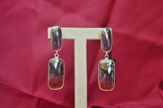 Earrings in ruby root and silver (925) - length: 6 cm