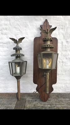 Beautiful set of copper carriage lamps, with an eagle - 19th century - Netherlands