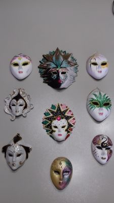 Enamelled porcelain and biscuit hand-painted Venetian masks