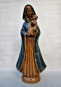 Art Deco Virgin Mary Madonna Chalkware Statue - Handpainted With Gold Accents - Signed Merlini V17