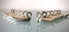 Set of 12 silver plated stylistic knife rests 'Swans'