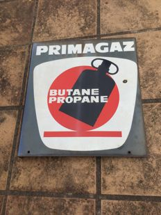 Double-sided enamelled Primagaz plate - 60s