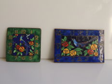 France; lot of 2 clock dials in enamelled bronze - art nouveau style and era - around 1900