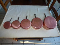 5 tinned copper pans