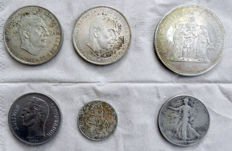 Spain, Venezuela, Austria, France and USA - 6 mixed coins - silver