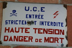 Enamel high voltage sign from France