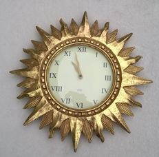 Karlsson wooden wall clock, a Sun in golden colour, diameter 43 cm. -United Kingdom - 20th century