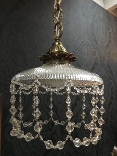 Hanging lamp with bronze chain, glass and crystal