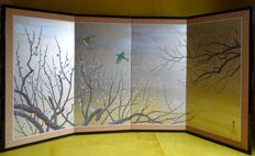 Four-part folding screen with lilac and birds - Japan - second half 20th century