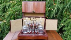 Wooden liqueur cellarette with glass liqueur set - mid 20th century