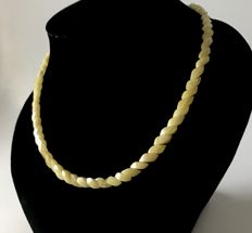 Fine necklace hand carved beads of natural white Baltic Amber (not pressed, not treated), length 46 cm,