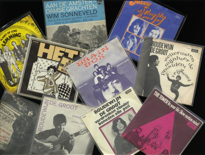 Lot of 10 Nederpop classics including Het, Mayfly, Lemming, Wim Sonnelveld, Brainbox and five singles by Boudewijn de Groot !!