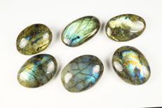 Madagascarian Intensive Labradorite big lot - labradorescence - full polished - 207gm (6)