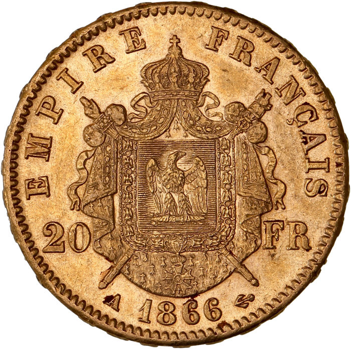 France - 20 Francs 1866 A (Paris) - Napoleon III - Gold