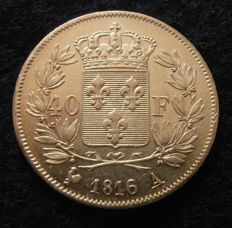 France - 40 Francs 1816 A (Paris) - Louis XVIII - Gold.