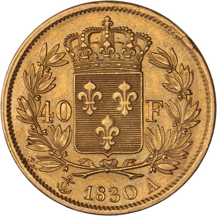 France – 40 Francs 1830 A (Paris) – Charles X – Gold