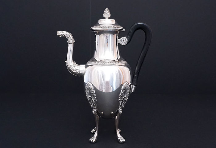 Solid silver coffee pot, Imperial style, Paul Canaux 1892-1911, France