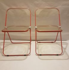 Giancarlo Piretti for Castelli Italia - set of two transparent folding Plia chairs