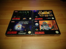 4 Super Nintendo Games, All Fully Complete, Like Another World, Alien 3, Super Dropzone and Arcades Greatest Hits
