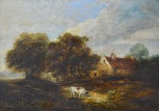 George Vincent. (1796-1831) (Attribute to) -  Farm animals by a cottage.